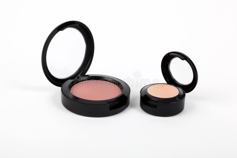 Make-up, Pulver und Rouge lizenzfreies stockbild