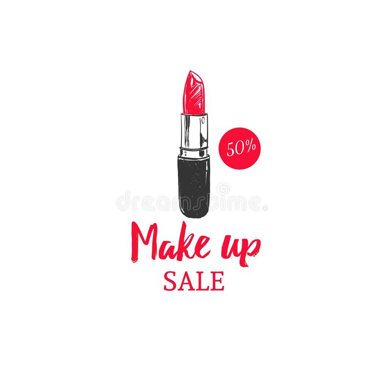 Make up sale concept. Vector hand drawn colorful sketch. Style, fashion and beauty illustration stock illustration