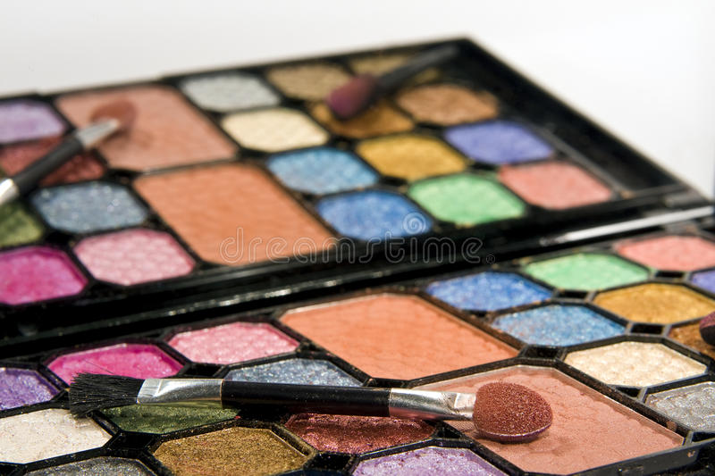 Make-up set with mirror. Simple make-up kit with mirror and applicator royalty free stock images