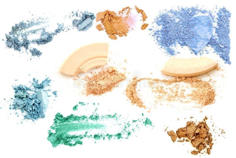 Make up set of various crushed eyeshadows and powder isolate.  royalty free stock image