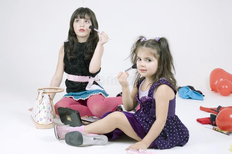 Make-up sisters stock photography