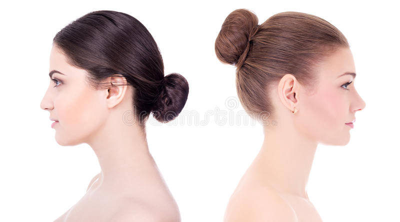 Make up and skin care concept - side view of beautiful women wit. H perfect skin isolated on white background stock photography