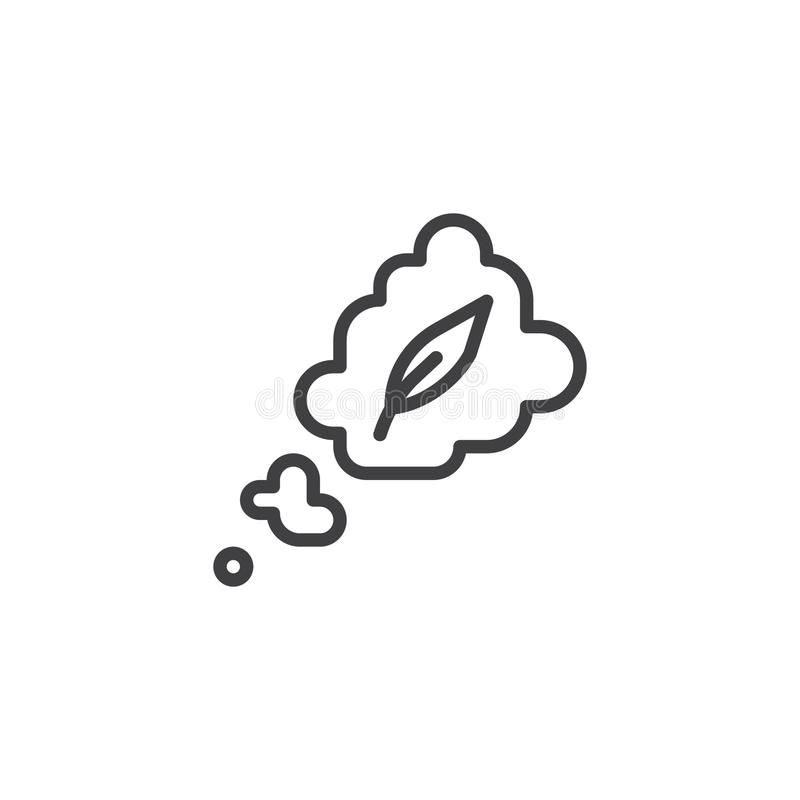 Make up story line icon. Outline vector sign, linear style pictogram isolated on white. Feather in thought cloud symbol, logo illustration. Editable stroke royalty free illustration