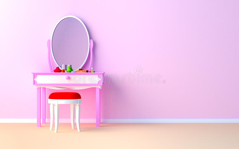 Make up table at the wall. Pink make up table at the wall in the girl's room