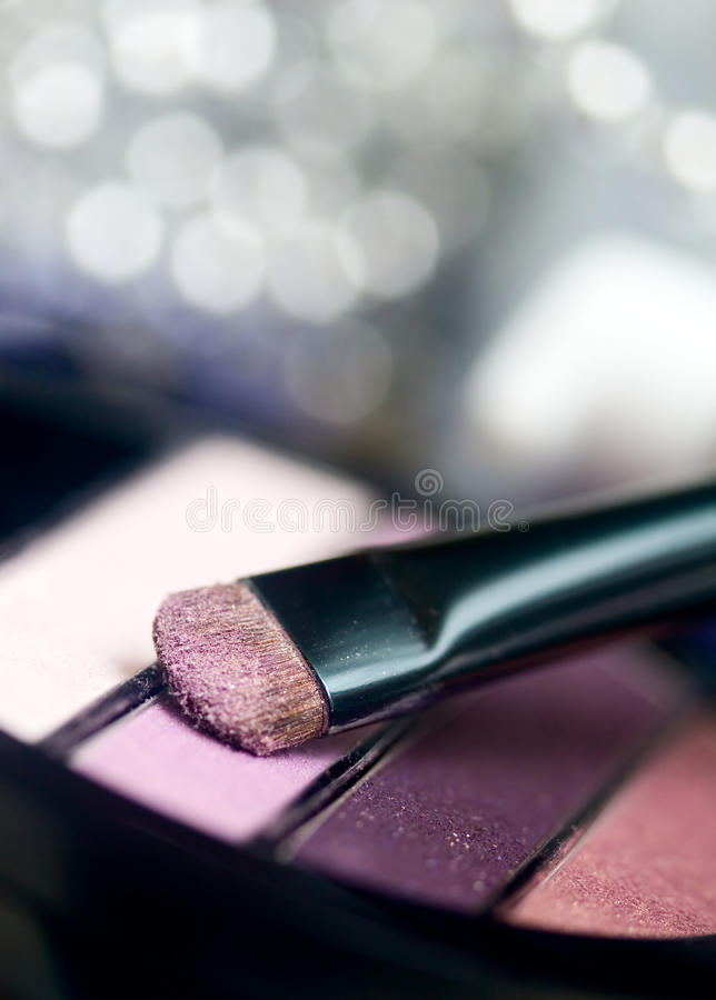 Make up tools. Eye shadow applicator, cosmetic accessories royalty free stock photos