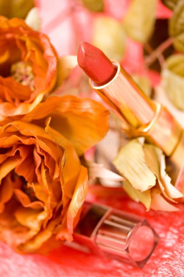 Make up tools and rose royalty free stock photo