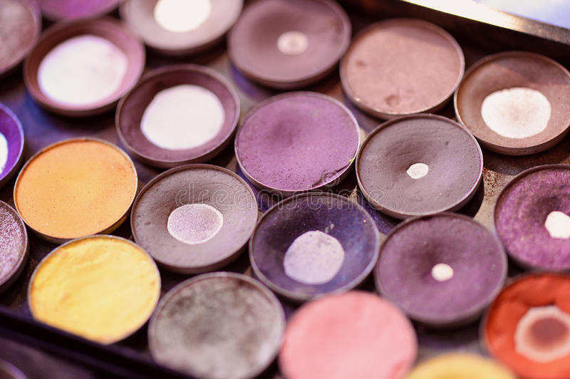 Make-up tray. With allot of colors royalty free stock images