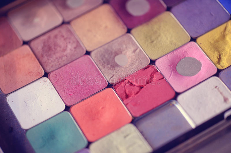 Make-up tray. With allot of colors stock image