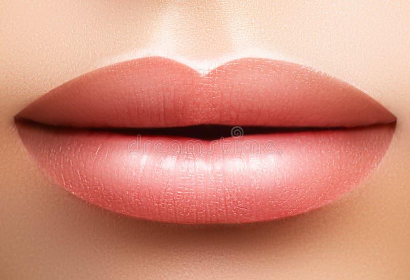 Make-up van de close-up de perfecte natuurlijke lip Mooie mollige volledige lippen op vrouwelijk gezicht Schone huid, verse samen royalty-vrije stock fotografie