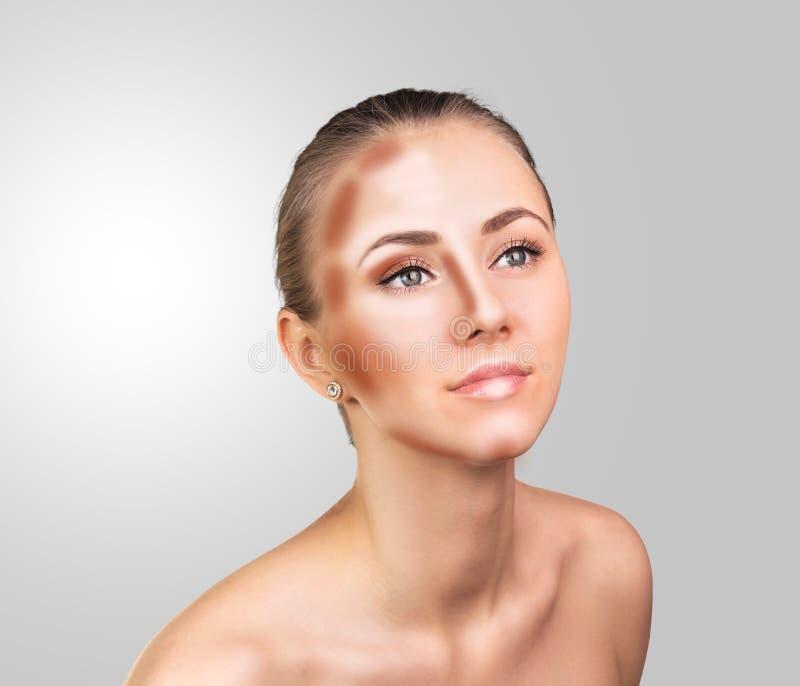 Make up woman face. Contour and Highlight makeup. Professional Contouring face make-up sample stock images