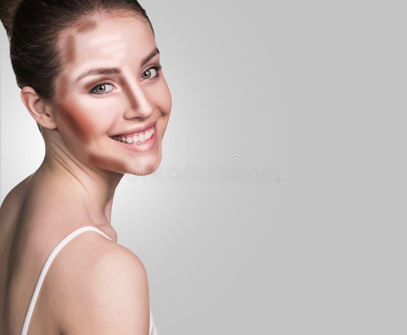 Make up woman face. Contour and Highlight makeup. Professional Contouring face make-up sample royalty free stock image