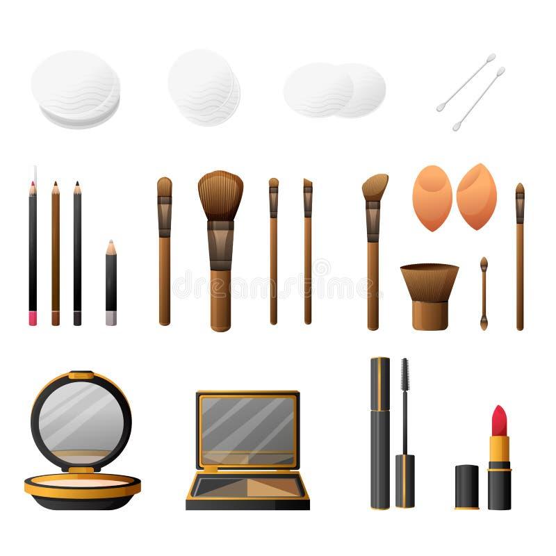 Make-upausrüstung in der flachen Art der Karikatur Eleganzkosmetikmake-up und Make-upzubehör Bezaubernd bilden Sie und Zubehör stock abbildung
