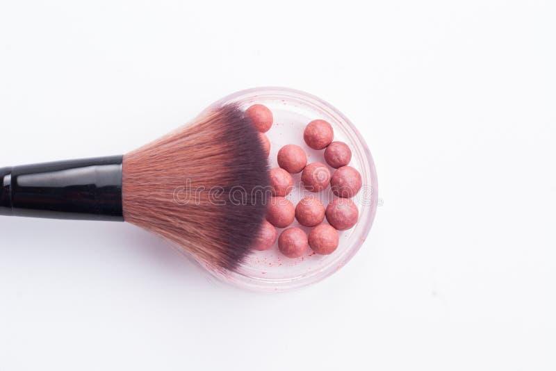 Make-upbürste Und -ball Stockbild