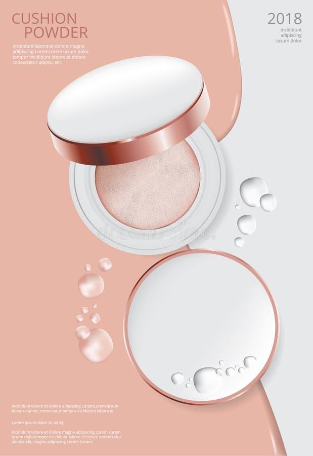Make-uppulver-Kissen-Plakat-Schablone lizenzfreie abbildung
