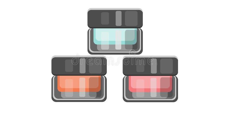 Make-upzubehör Geschlossenes Glas drei voll des kosmetischen Produktes für Hautpflege stock abbildung