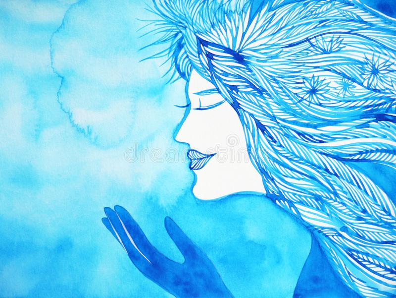 Make a wish angel winter snow christmas watercolor painting royalty free stock images