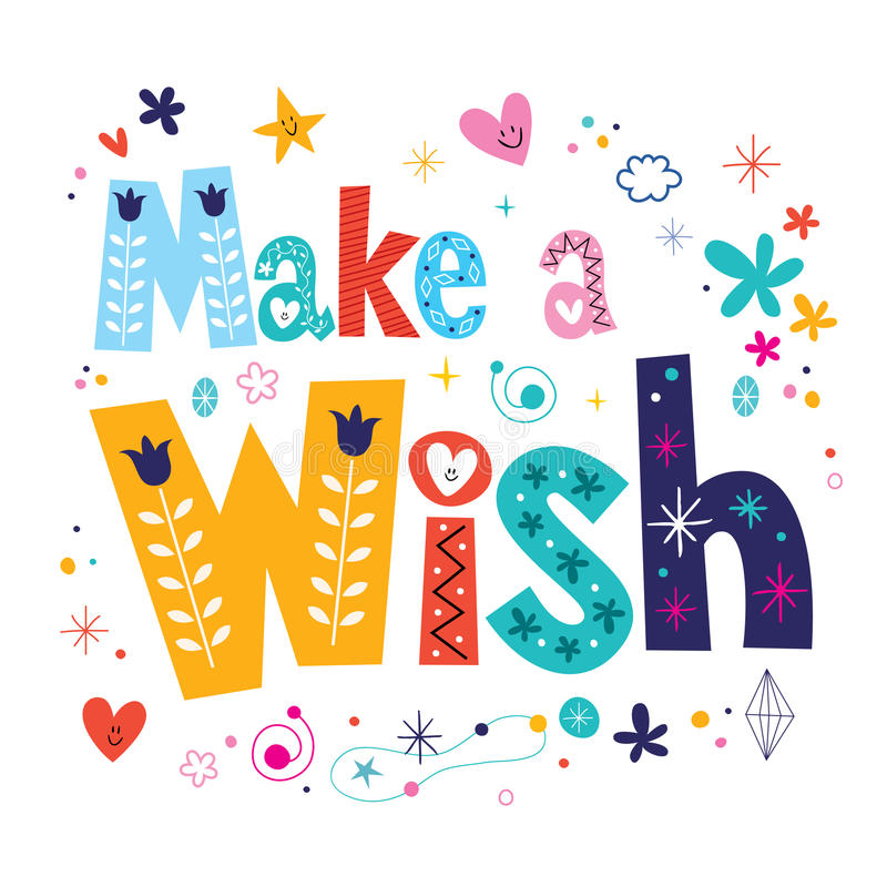 Make a wish decorative type lettering text design. Make a wish decorative lettering text design stock illustration