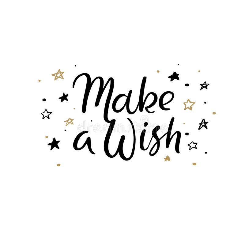 Make a Wish Hand Lettering Greeting Card. Vector Illistration. Modern Calligraphy. vector illustration