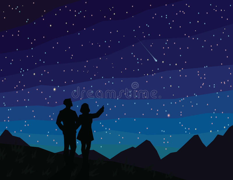 Make a wish. Silhouette of couple, watching falling star. stock illustration