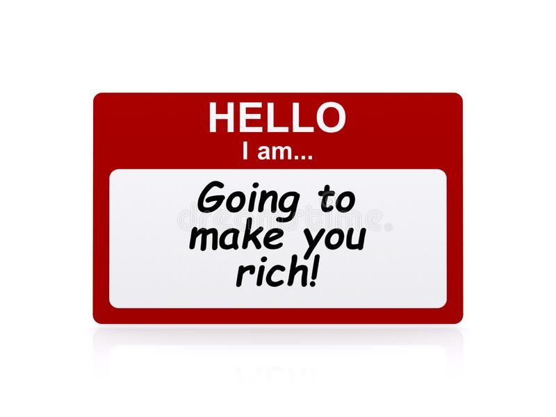 Make you rich illustration. Red and white name badge illustrated with text graphics hello i am going to make you rich royalty free illustration