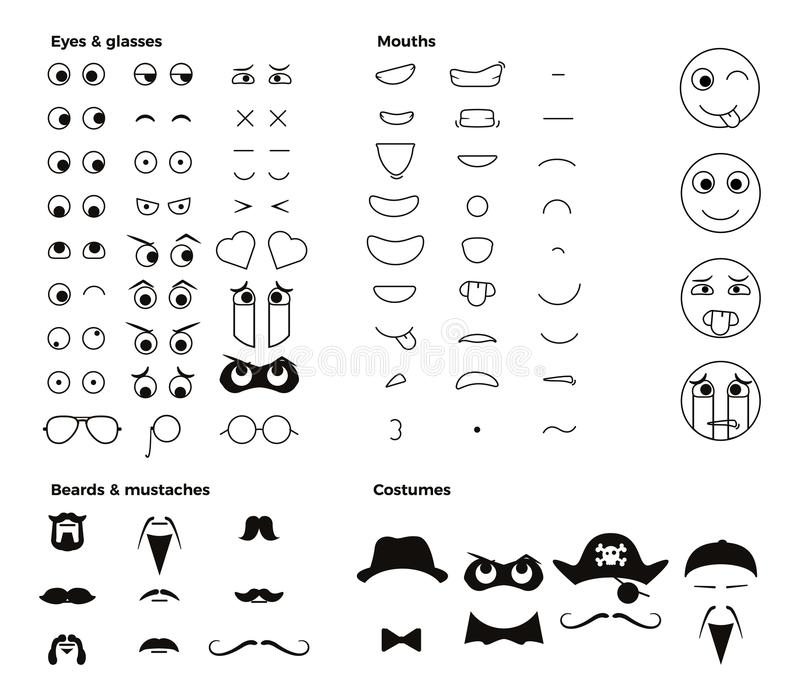 Make your own character emoji emoticon smiley. Vector elements to create thousands of facial expressions with dozens of shapes vector illustration