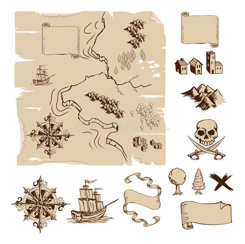 Make your own fantasy or treasure maps. Example map and design elements to make your own fantasy or treasure maps. Includes mountains, buildings, trees, compass