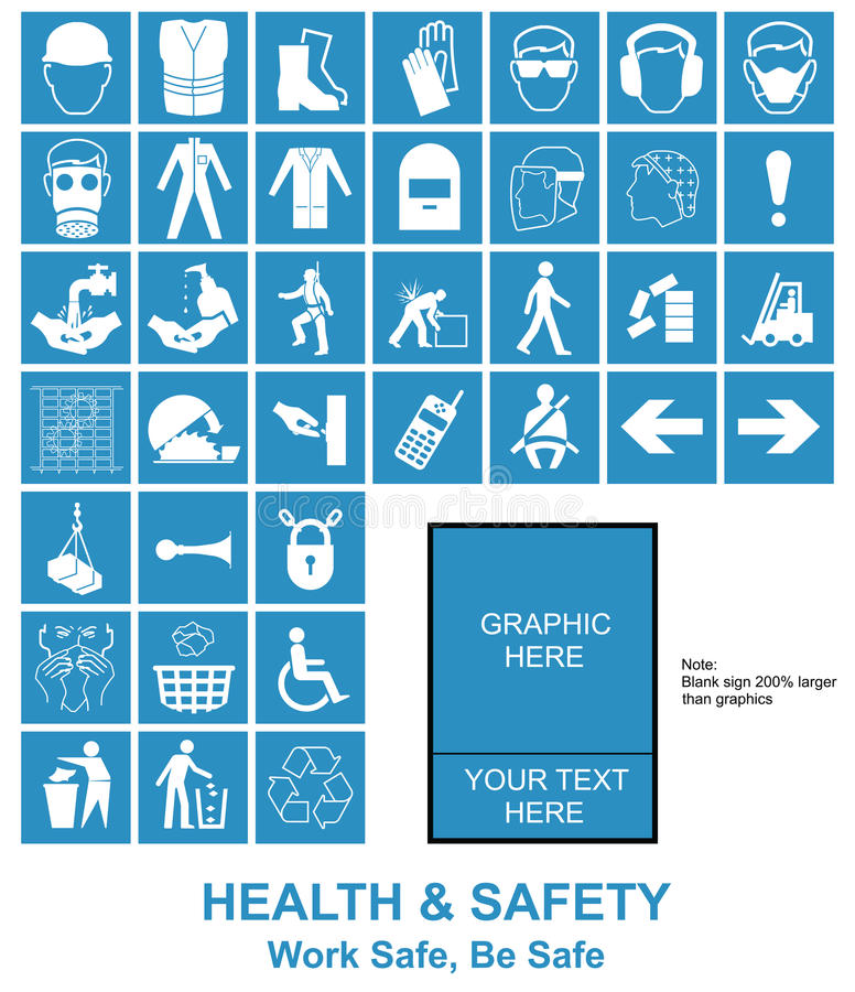 Make your own Health and Safety signs. Cyan make your own construction manufacturing and engineering health and safety related signs isolated on white background vector illustration