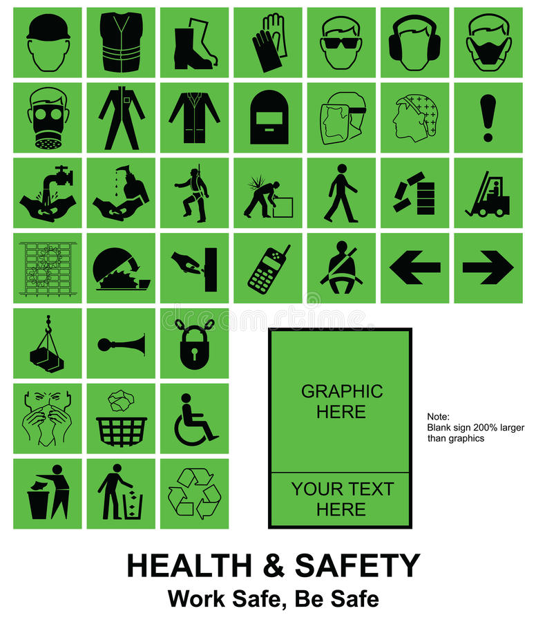 Make your own Health and Safety signs. Green make your own construction manufacturing and engineering health and safety related signs isolated on white stock illustration