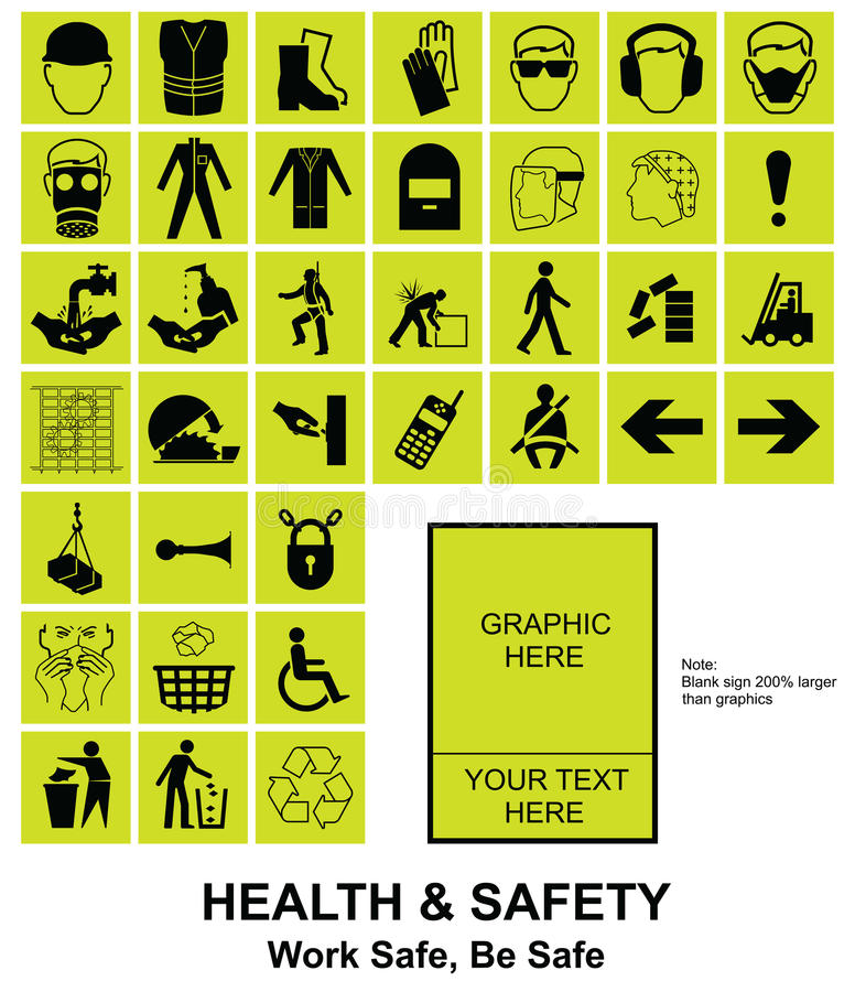 Make your own Health and Safety signs. Yellow make your own construction manufacturing and engineering health and safety related signs isolated on white vector illustration