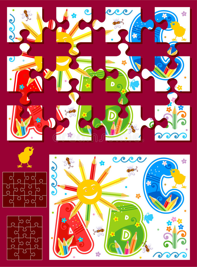 Make your own jigsaw puzzle kit vector illustration