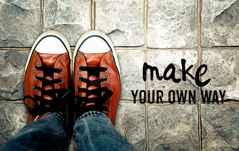 Make your own way, Inspiration quote stock photography