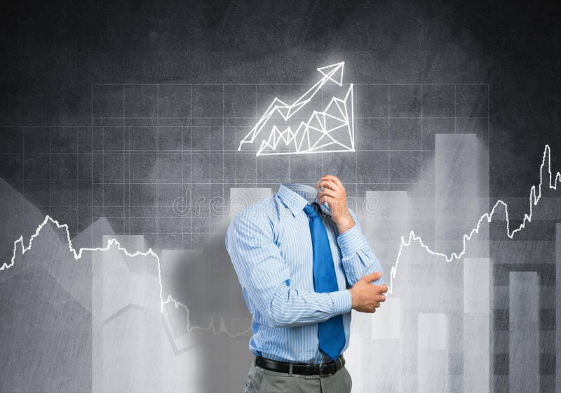 Make your sales grow. Faceless pensive businessman with graph instead of head stock image