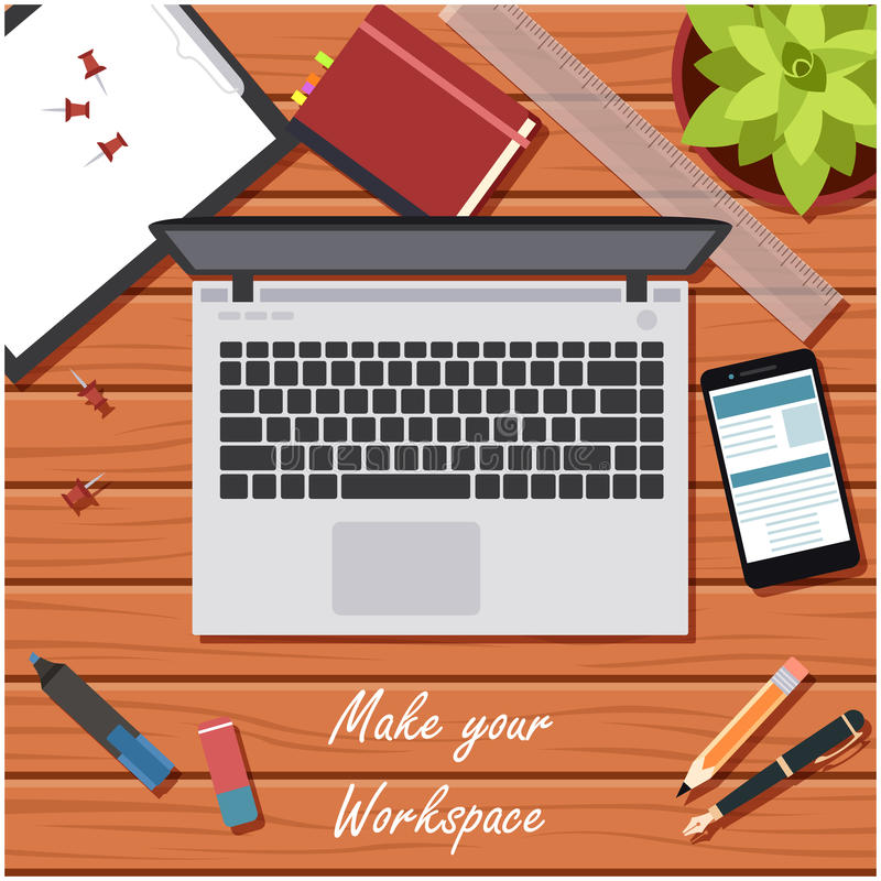 Make your workspace banner2. Vector image of the workspace table banner royalty free illustration