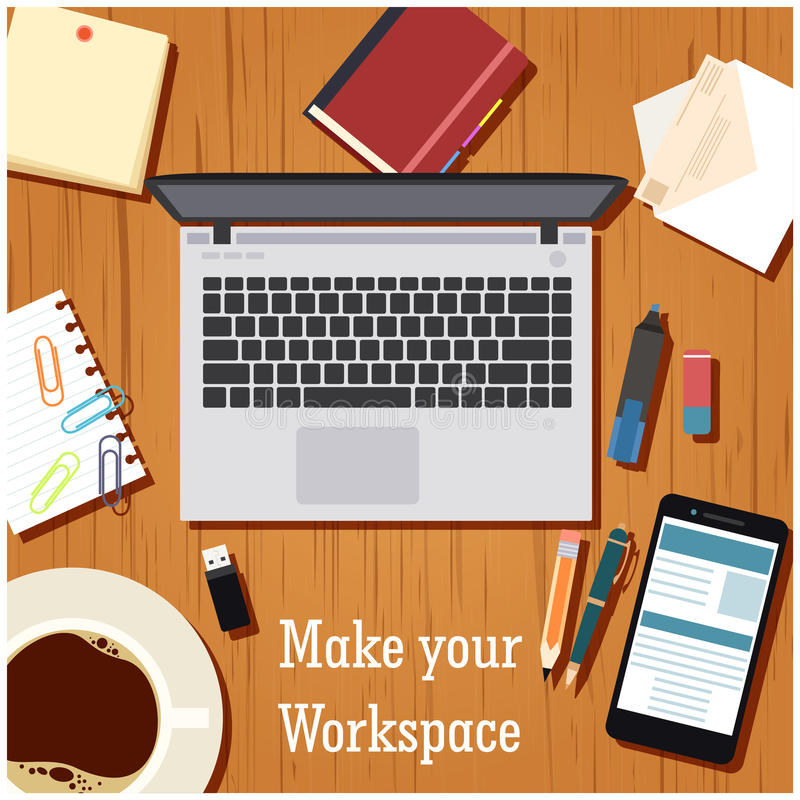 Make your workspace banner1. Vector image of the workspace table banner royalty free illustration