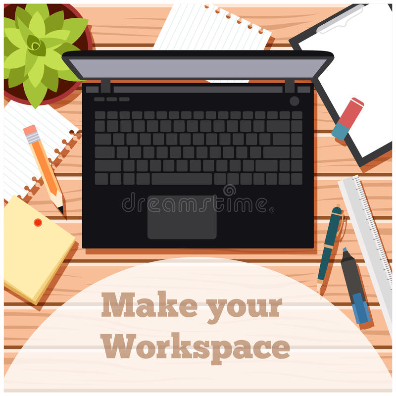 Make your workspace banner5. Vector image of the workspace table banner stock illustration