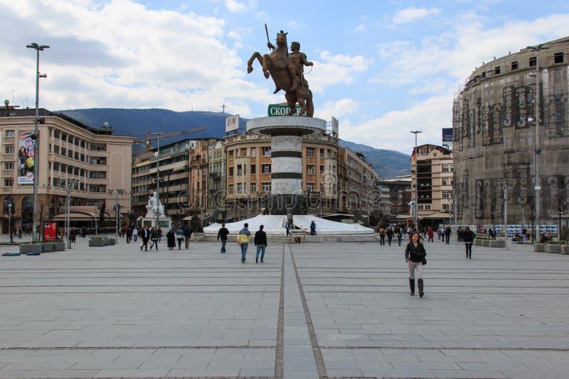 Makedonia quadrato, il quadrato principale di Skopje, fotografie stock