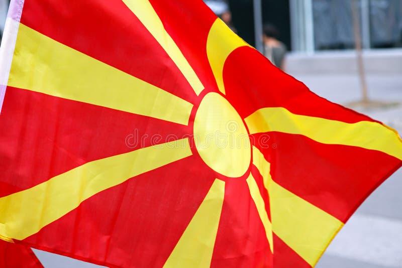 Makedonien flagga arkivbilder