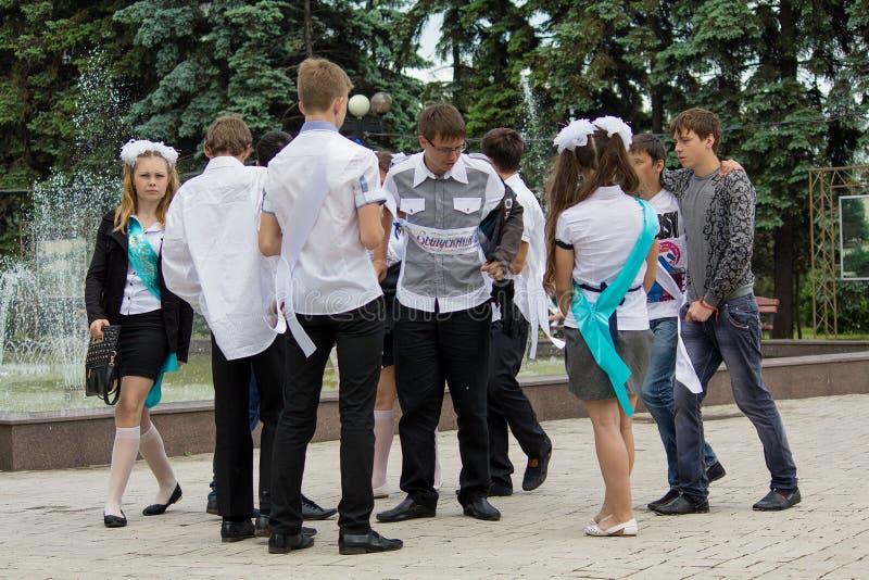 Makeevka,乌克兰- 2015年5月29日:小组在fo附近的毕业生 库存图片