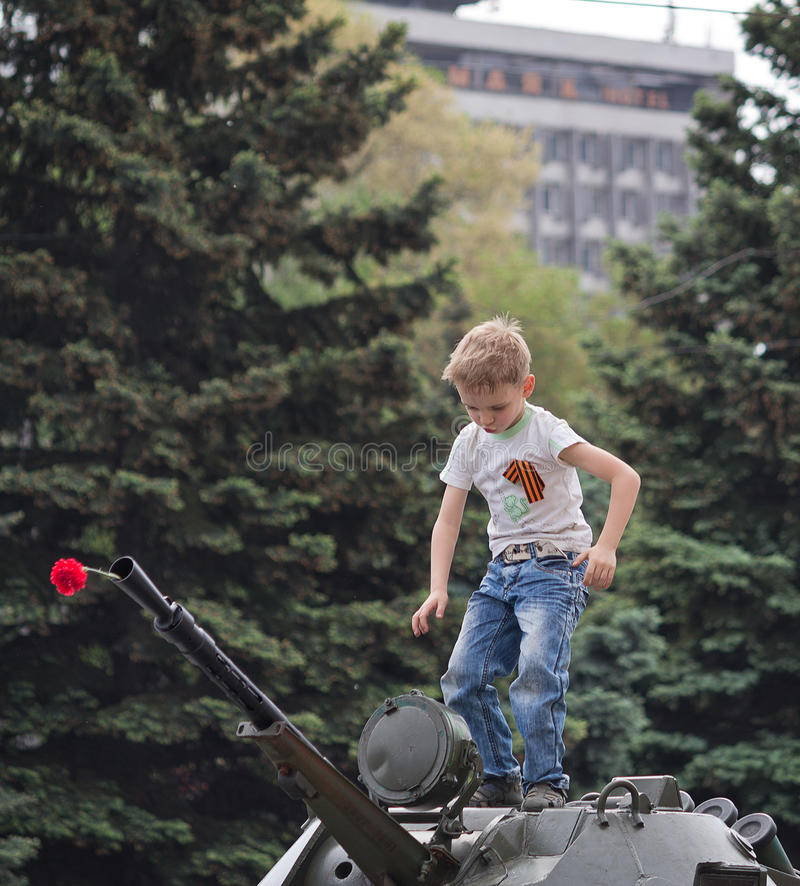 Makeevka, Ουκρανίας - 9 Μαΐου, 2012: Εορτασμός της επετείου στοκ φωτογραφία με δικαίωμα ελεύθερης χρήσης