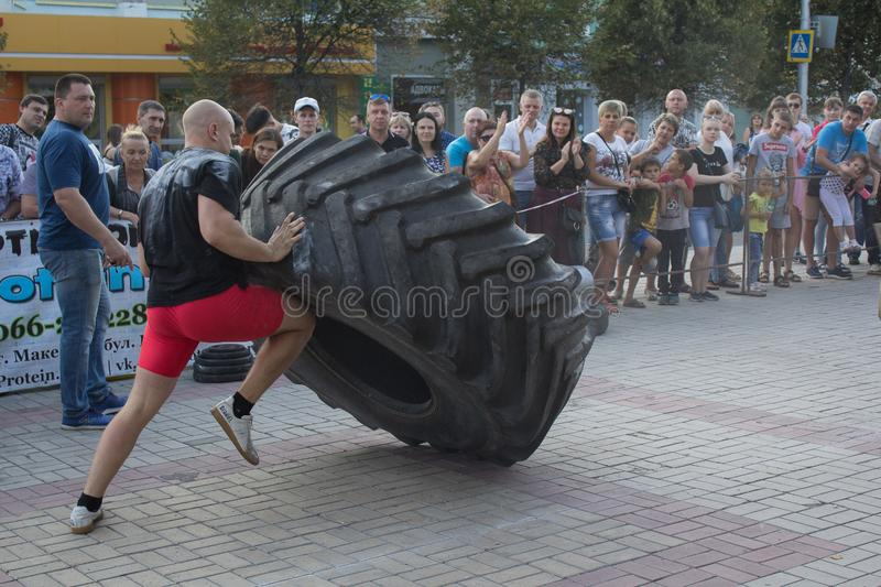 Makeevka, Ουκρανία - 25 Αυγούστου 2018: Οι αθλητές ανταγωνίζονται στην οδό στοκ φωτογραφία με δικαίωμα ελεύθερης χρήσης