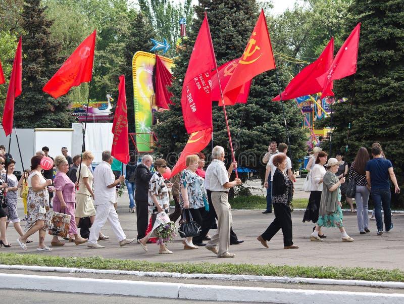 Makeevka, Ucraina - maggio, 9, 2012: Fautori del ideolo comunista fotografia stock libera da diritti