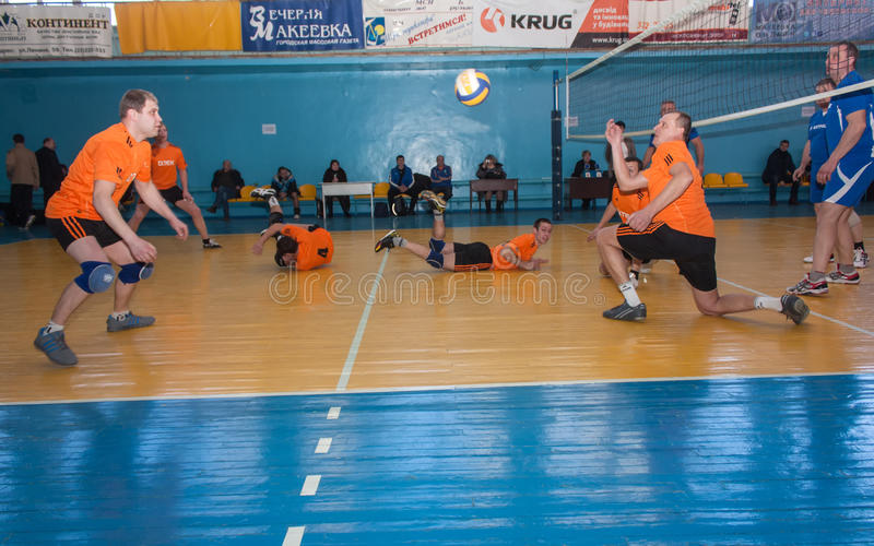 Makeevka, Ukraine - February 26, 2013: Game episode volleyball. Tournament among amateur teams coal mines stock images