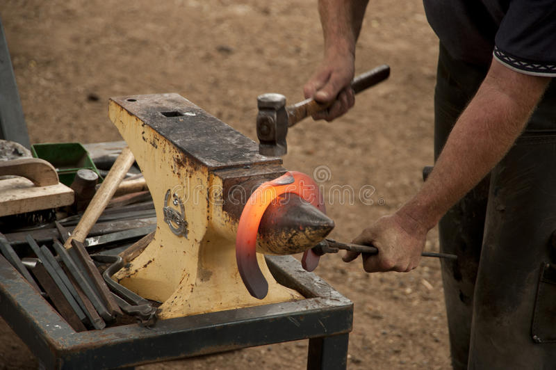 Making a Horse Shoe stock image