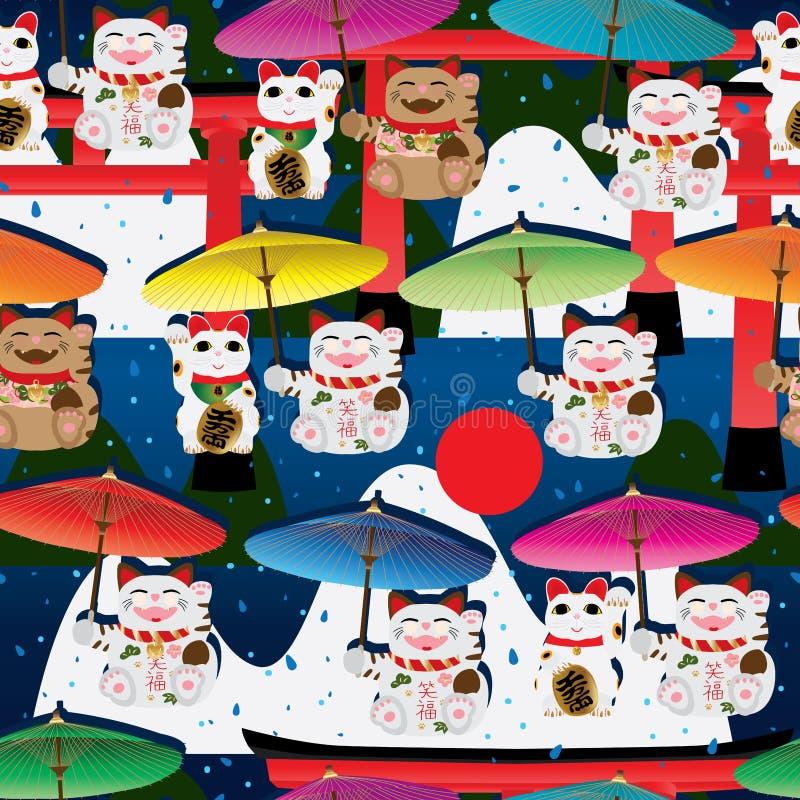 Makeki umbrella Torii mountain seamless pattern stock illustration
