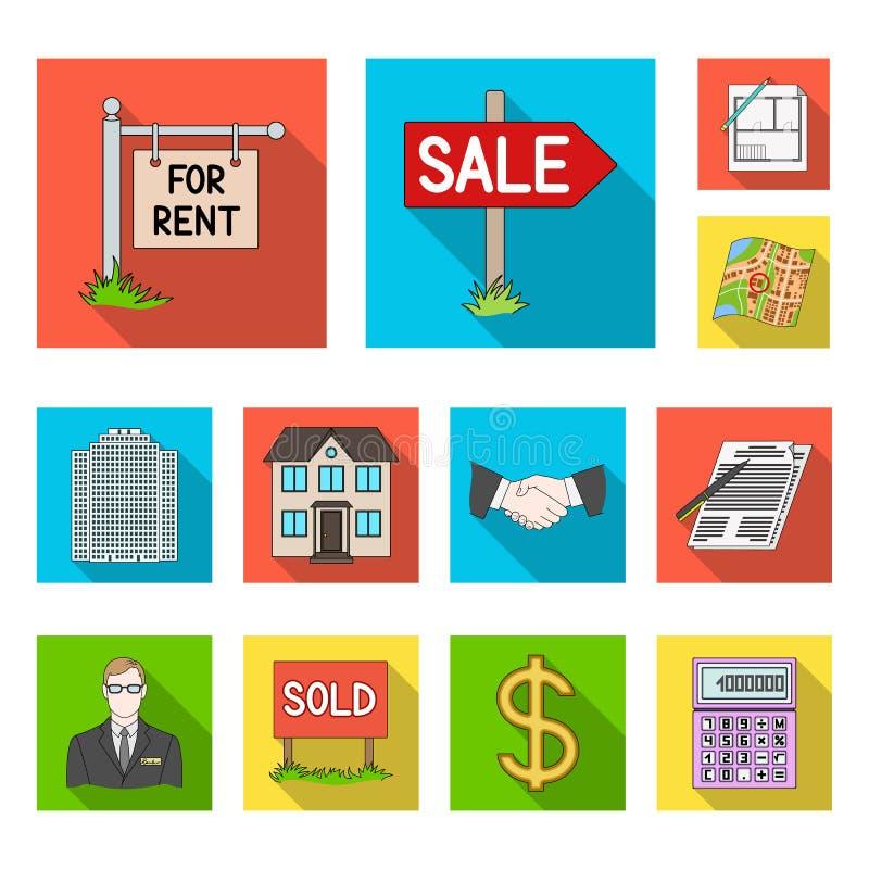 Makelaar in onroerend goed, agentschap vlakke pictogrammen in vastgestelde inzameling voor ontwerp Het kopen en het verkopen de v royalty-vrije illustratie