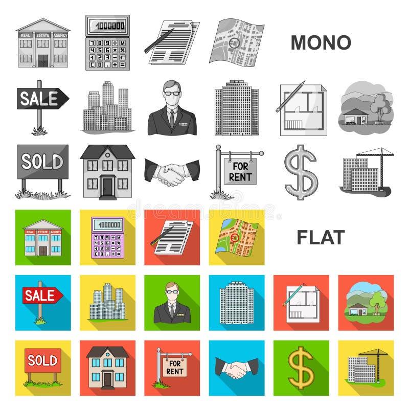 Makelaar in onroerend goed, agentschap vlakke pictogrammen in vastgestelde inzameling voor ontwerp Het kopen en het verkopen de v stock illustratie