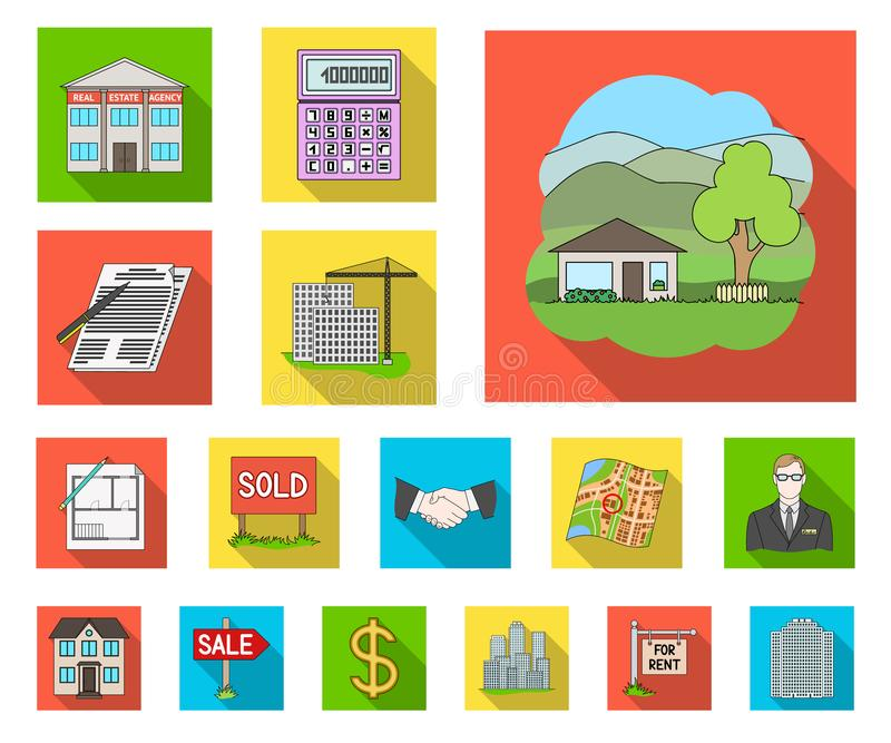 Makelaar in onroerend goed, agentschap vlakke pictogrammen in vastgestelde inzameling voor ontwerp Het kopen en het verkopen de v vector illustratie