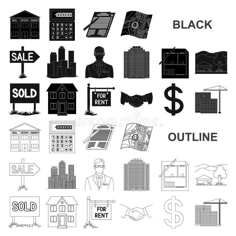 Makelaar in onroerend goed, agentschap zwarte pictogrammen in vastgestelde inzameling voor ontwerp Het kopen en het verkopen de v royalty-vrije illustratie