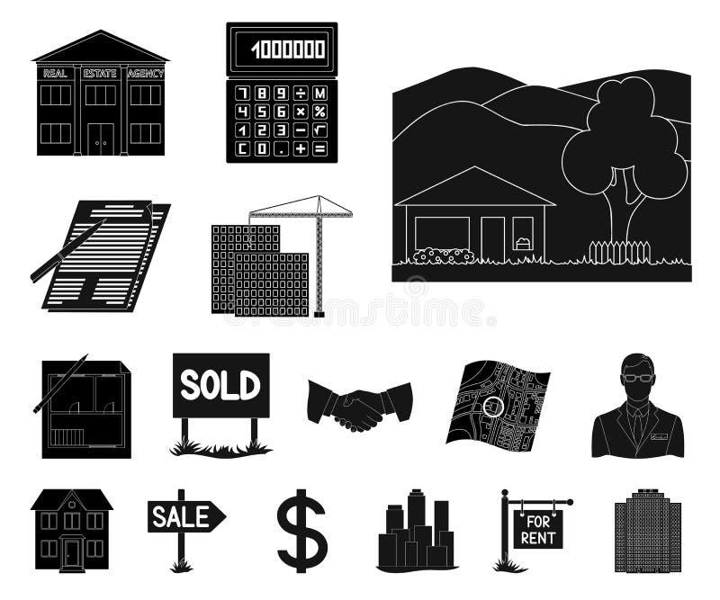Makelaar in onroerend goed, agentschap zwarte pictogrammen in vastgestelde inzameling voor ontwerp Het kopen en het verkopen de v stock illustratie