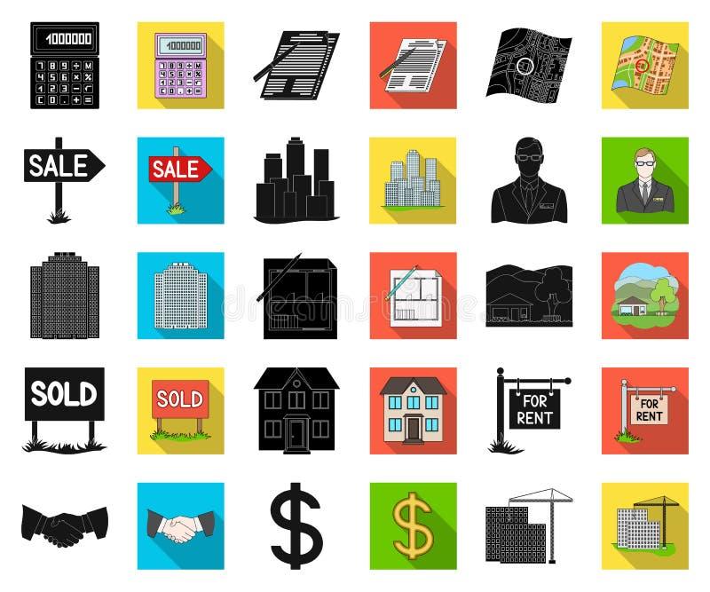 Makelaar in onroerend goed, agentschap zwarte, vlakke pictogrammen in vastgestelde inzameling voor ontwerp Het kopen en het verko stock illustratie